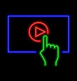 play video online concept neon sign bright vector image vector image