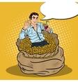 Pop Art Businessman Swimming in Money Bag vector image vector image