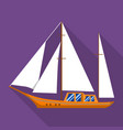sail yacht icon flat style vector image