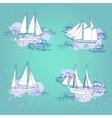 Sea travel elements set vector image