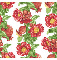 seamless pattern in with pomegranate fruits and vector image vector image