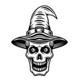 skull witch in hat black graphic object vector image vector image