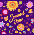 summer time lettering on floral background vector image
