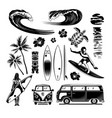 surfing engraving monochrome hand drawn set vector image vector image