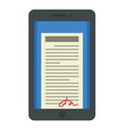 tablet signature icon flat style vector image