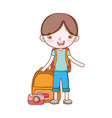 traveler with travel elements vector image vector image