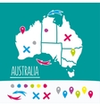 Vintage Hand drawn Australia travel map with pins vector image vector image