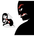 Woman hides the child from male silhouette vector image vector image
