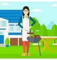 Woman preparing barbecue vector image
