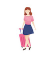 women with luggage vector image vector image