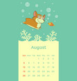 2018 august calendar with welsh corgi dog vector image vector image