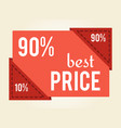 90 off best price sale tag vector image