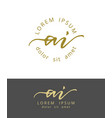 a i initials monogram logo design dry brush vector image
