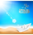 Beautiful background with a summer sea and ship vector image