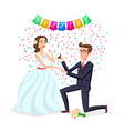 bride and groom as love wedding couple cartoon vector image vector image
