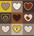 brown and khaki cute hearts pattern set vector image