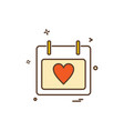 calendar heart icon design vector image