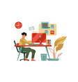 character working at computer trendy modern scene vector image vector image