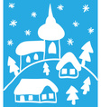 Christmas church and houses hand - drawn style vector image vector image