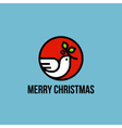 Christmas dove of peace with holly branch vector image vector image