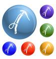 climb ice axe icons set vector image