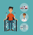 color background with closeup man in wheelchair vector image vector image