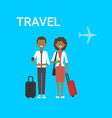 couple of travellers with bag young african vector image