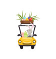 cute bunny driving yellow vintage car with basket vector image