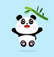cute panda cartoon jump to eat bamboo leaves vector image vector image