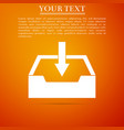download inbox icon isolated on orange background vector image vector image