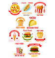 fast food restaurant lunch meal symbol set vector image vector image
