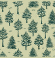 forest monochrome vintage seamless pattern vector image vector image
