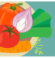 Fresh vegetables on the plate vector image