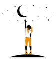 Girl reaching the stars on a white background vector image vector image