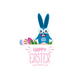 happy easter greeting card with color eggs vector image vector image
