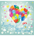 Image with colorful balloons in heart shape on sky vector image vector image