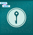 key icon on a green background with arrows in vector image