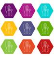 kitchenware icons set 9 vector image