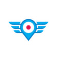 mobile location with wings logo concept vector image