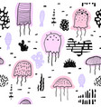 nautical seamless pattern with jellyfish childish vector image vector image