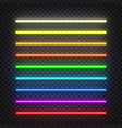 neon brushes set set of colorful light objects vector image