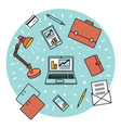 office supplies and stuff on white background vector image