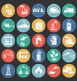 oil industry icons on circles flat background vector image