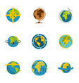 planet icons set flat style vector image vector image