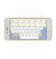 realistic smartphone with keyboard on screen vector image