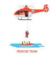 rescue team with rescue helicopter and boat vector image vector image