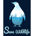 Save wildlife theme with penquin vector image vector image