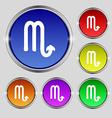 Scorpio icon sign Round symbol on bright colourful vector image vector image