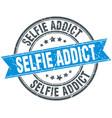 selfie addict round grunge ribbon stamp vector image vector image