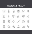 set 24 medical and health web icons in line vector image vector image